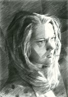 cubistic portrait graphite pencil drawing thumbnail of Jane Fonda