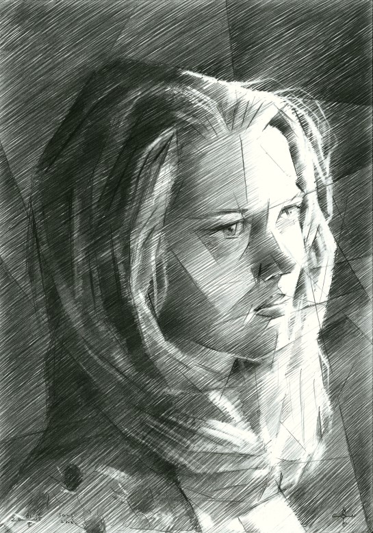 Cubistic portrait graphite pencil drawing of Jane Fonda