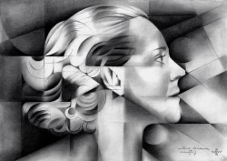 cubistic portrait graphite pencil drawing thumbnail of Darja Collin