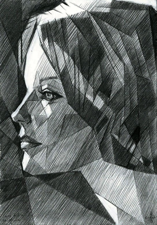 cubistic portrait graphite pencil drawing of Romy Schneider