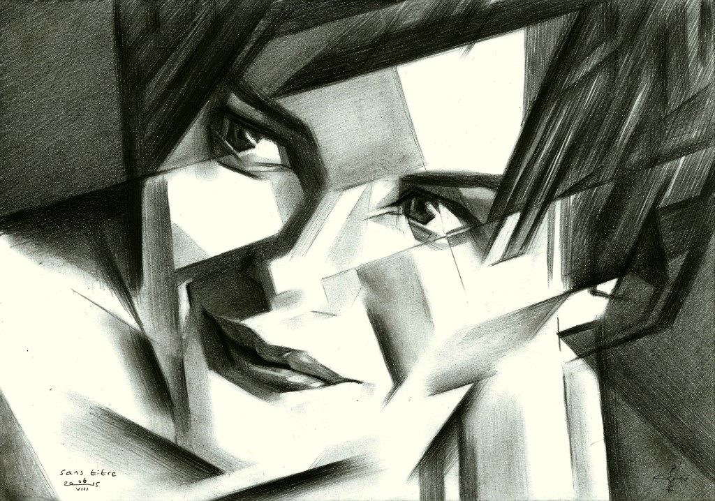 Cubistic portrait graphite pencil drawing of Audrey Tautou