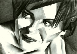 cubistic portrait graphite pencil drawing thumbnail of Audrey Tautou