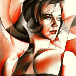 Cubistic colored pencil drawing of Natalie Wood