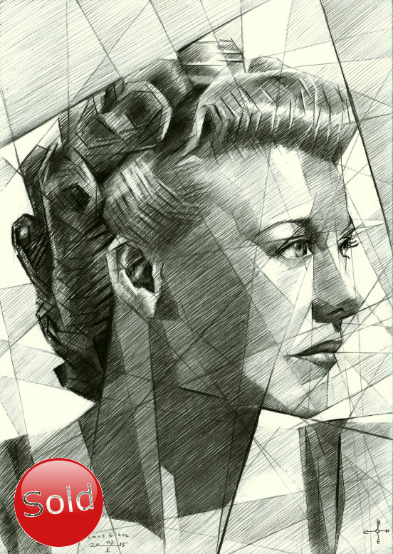Cubistic portrai graphite pencil drawing of Ginger Rogers