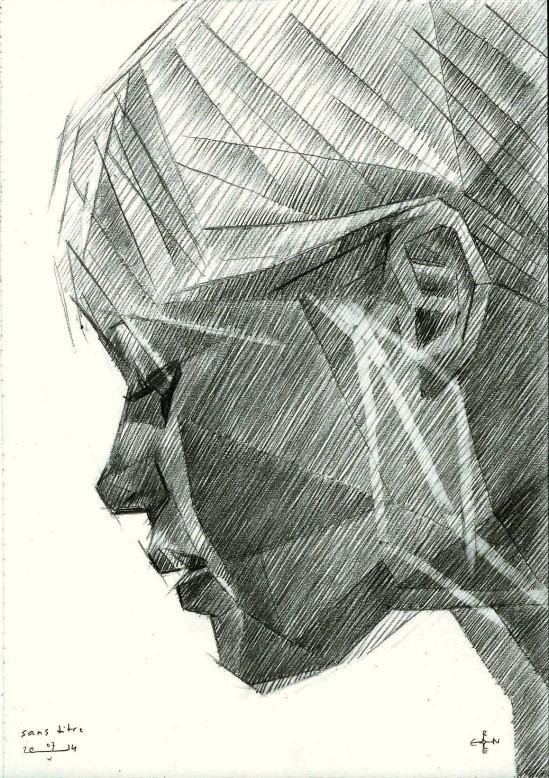 cubistic portrait graphite pencil drawing of Brigitte Bardot