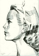 cubistic portrait graphite pencil drawing thumbnail of Grace Kelly
