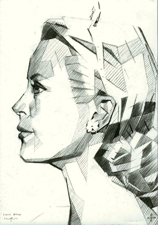 cubistic portrait graphite pencil drawing of Grace Kelly