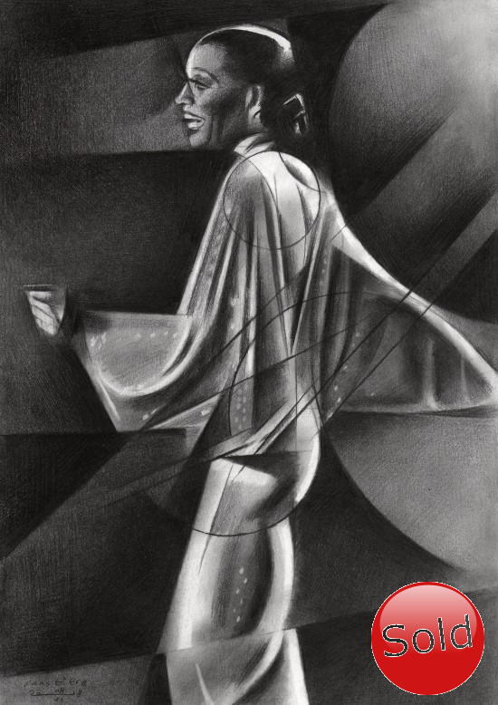 Cubistic Diana Ross graphite pencil drawing