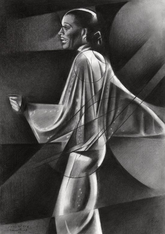 Cubistic portrait graphite pencil drawing of Diana Ross