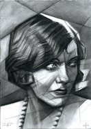 cubistic portrait graphite pencil drawing thumbnail of Gloria Swanson