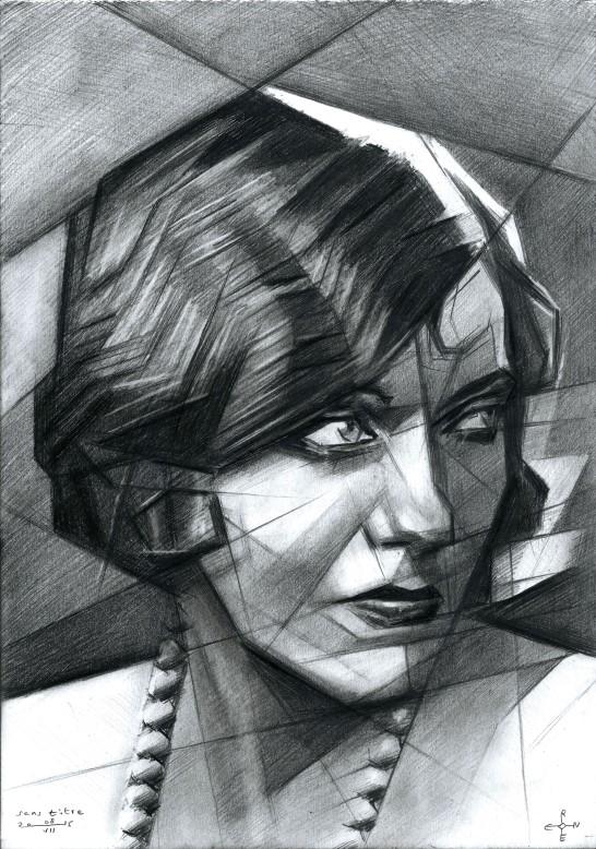 Cubistic portrait graphite pencil drawing of Gloria Swanson