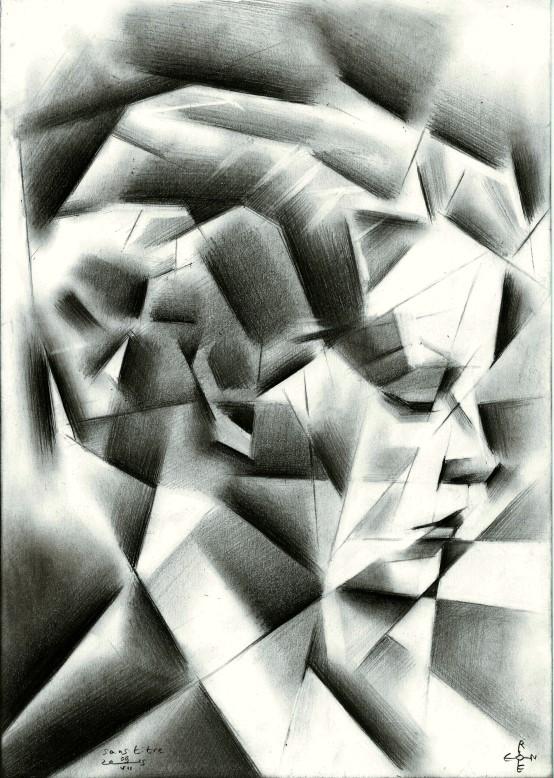 Cubistic portrait graphite pencil drawing of Sari Maritza