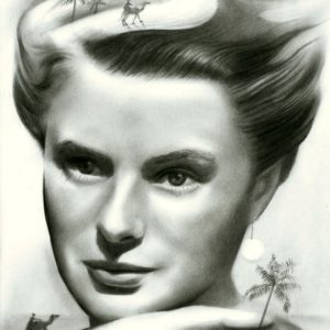 Surrealistic portrait graphite pencil drawing of Ingrid Bergman