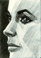 cubistic portrait graphite pencil drawing thumbnail of Elizabeth Taylor