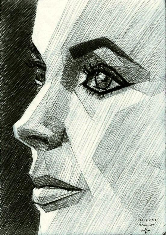 cubistic portrait graphite pencil drawing of Elizabeth Taylor