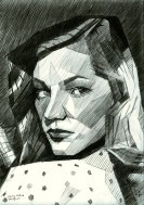 cubistic portrait graphite pencil drawing thumbnail of Lauren Bacall