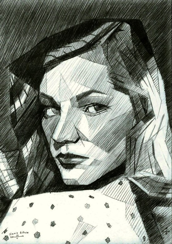 cubistic portrait graphite pencil drawing of Lauren Bacall