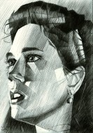 cubistic portrait graphite pencil drawing thumbnail of Jennifer Connelly