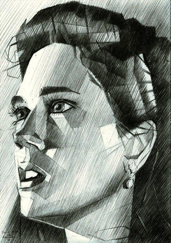 cubistic portrait graphite pencil drawing of Jennifer Connelly