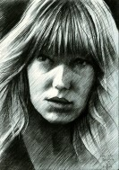 impressionistic portrait graphite pencil drawing thumbnail of Lea Seydoux