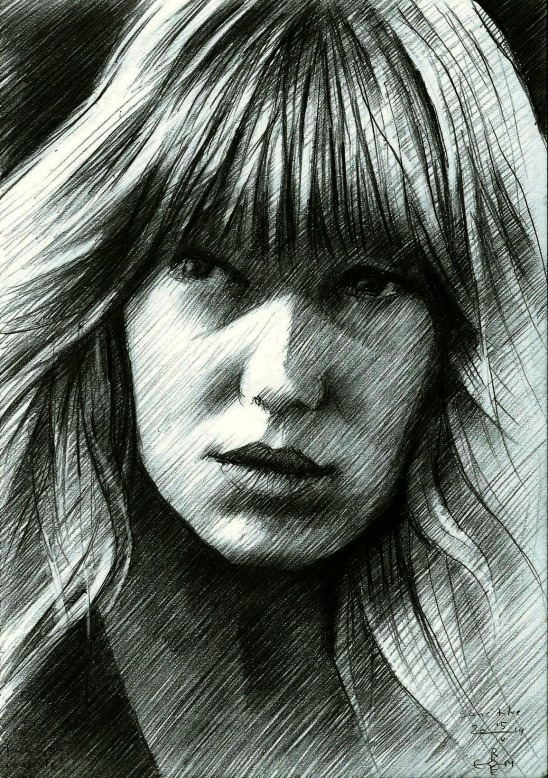impressionistic portrait graphite pencil drawing of Lea Seydoux