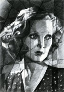 cubistic portrait graphite pencil drawing thumbnail of Loretta Young