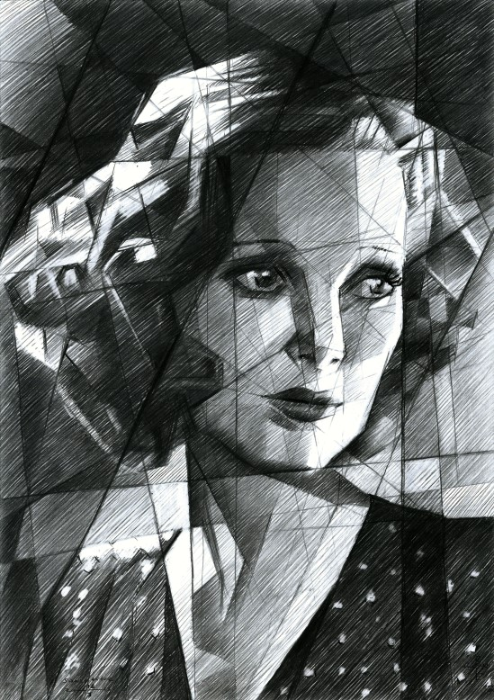 Cubistic portrait graphite pencil drawing of Loretta Young