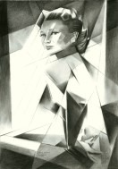 cubistic portrait graphite pencil drawing thumbnail of Anne Baxter