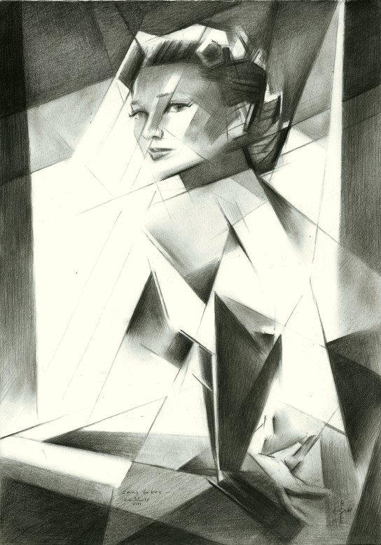 Cubistic graphite pencil drawing of Anne Baxter