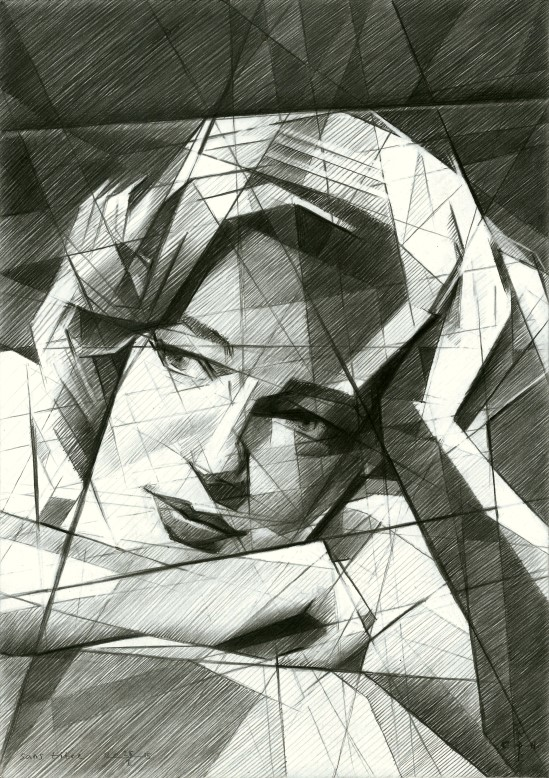 Cubistic portrait graphite pencil drawing of Simone Signoret