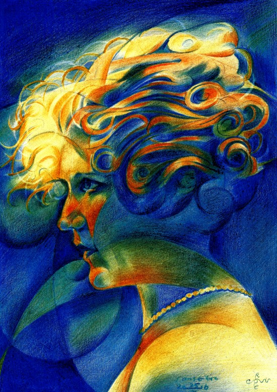 Surrealistic portrait colored pencil drawing of Mary Pickford
