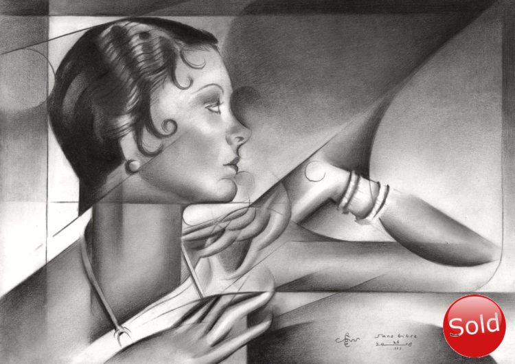 Cubistic Myrna Loy portrait graphite pencil drawing