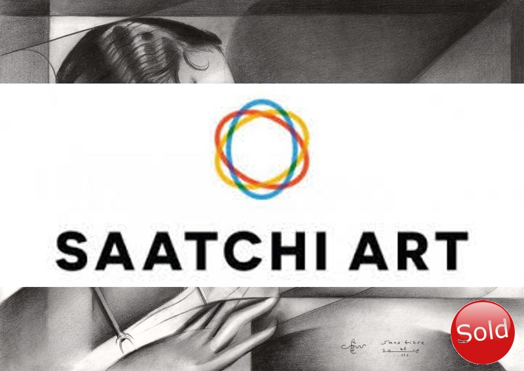 Cubistic portrait graphite pencil drawing advertisement