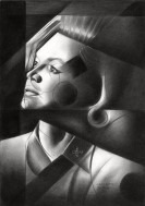 cubistic portrait graphite pencil drawing thumbnail of Angie Dickinson