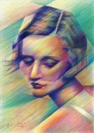 cubistic portrait colored pencil drawing thumbnail of Tallulah Bankhead