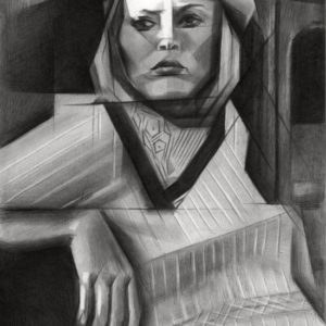Cubistic portrait graphite pencil drawing of Faye Dunaway