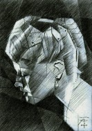 cubistic portrait graphite pencil drawing thumbnail of Lana Turner