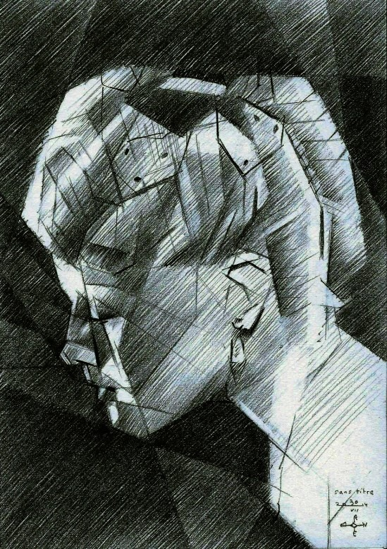 cubistic portrait graphite pencil drawing of Lana Turner