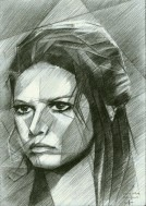 cubistic portrait graphite pencil drawing thumbnail of Claudia Cardinale
