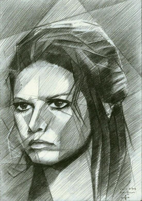 cubistic portrait graphite pencil drawing of Claudia Cardinale