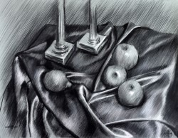 realistic still life charcoal drawing thumbnail