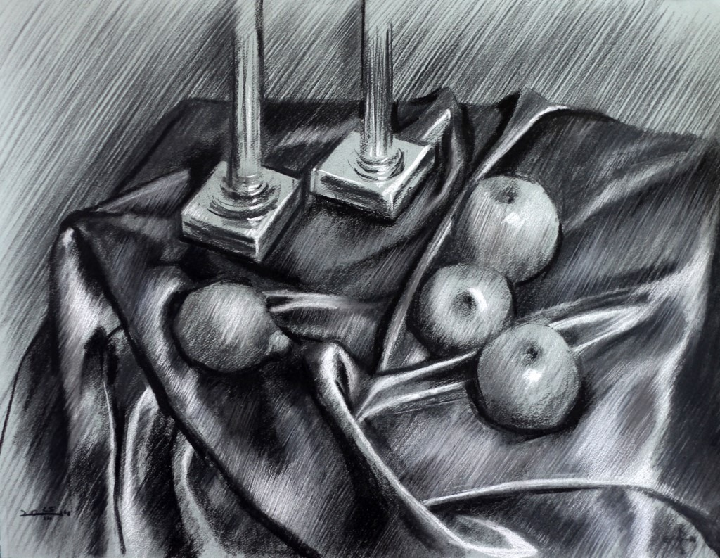 realistic still life charcoal drawing