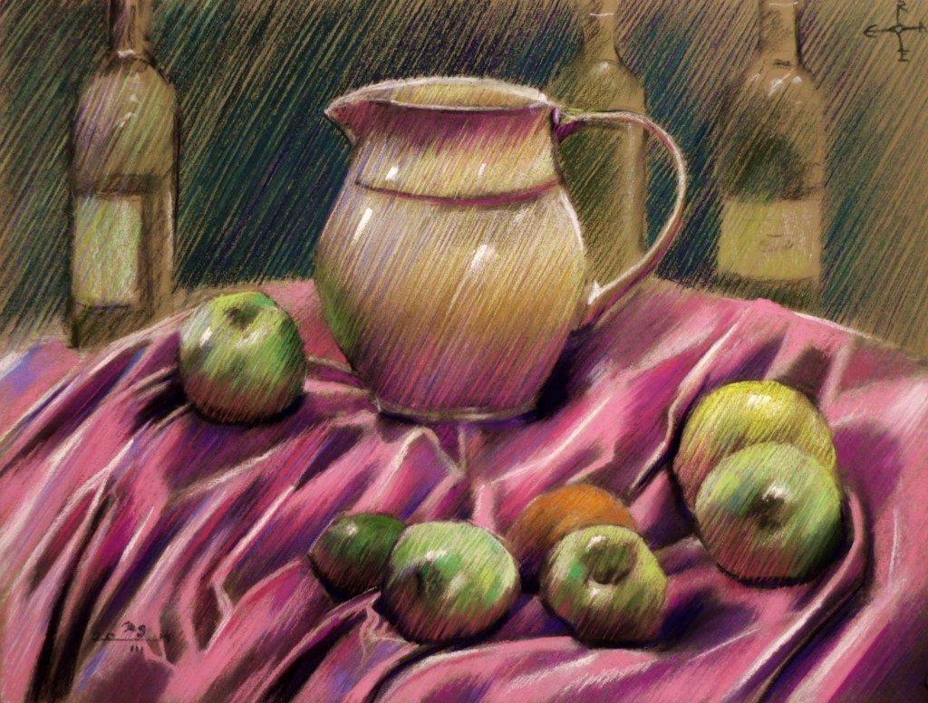 Impressionistic still life pastel drawing