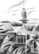 cubistic urban graphite pencil drawing thumbnail