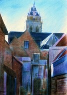 impressionistic urban colored pencil drawing thumbnail