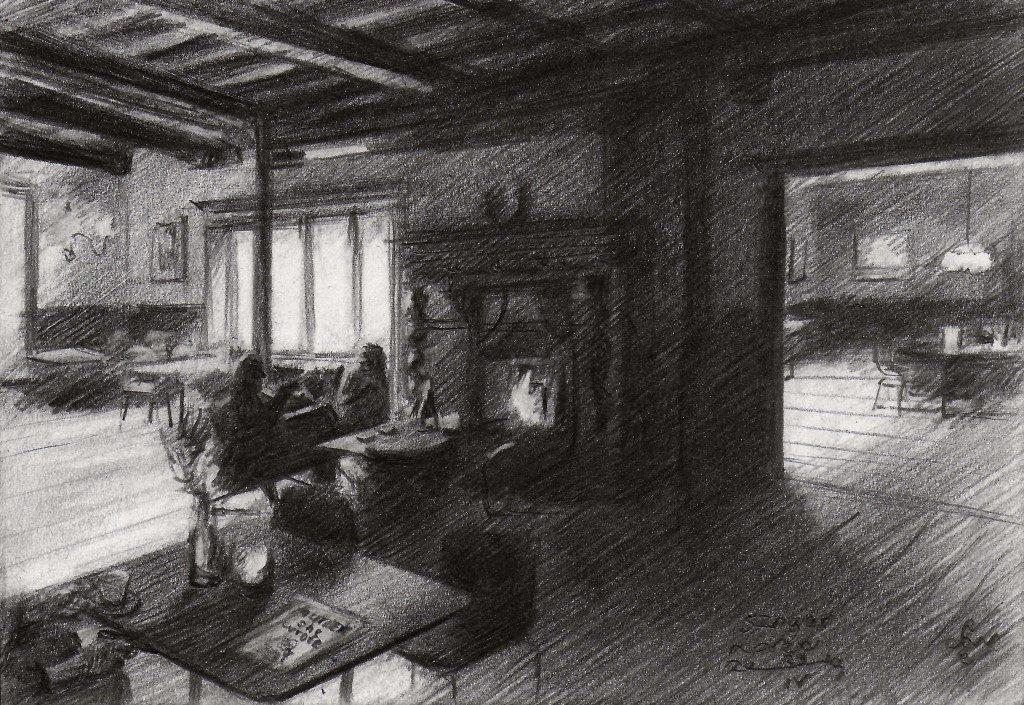Impressionistic interior graphite pencil drawing