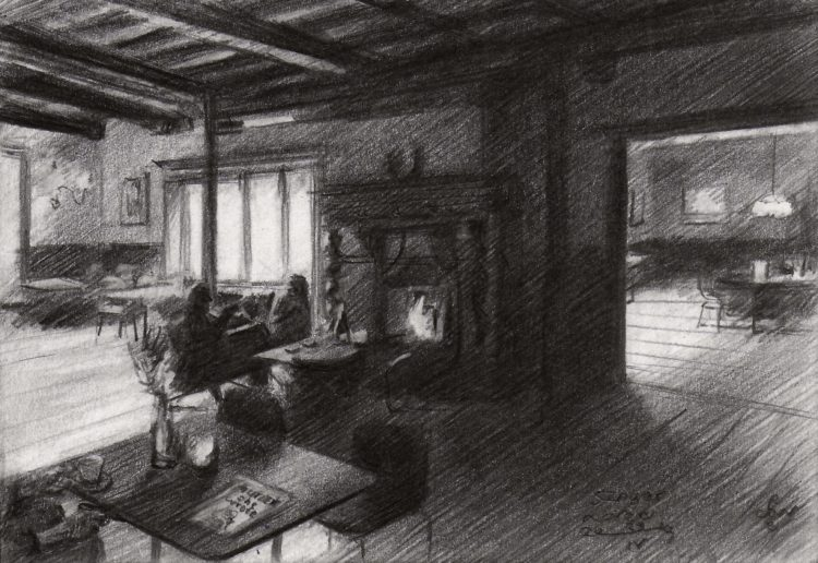 Impressionistic interior graphite pencil drawing