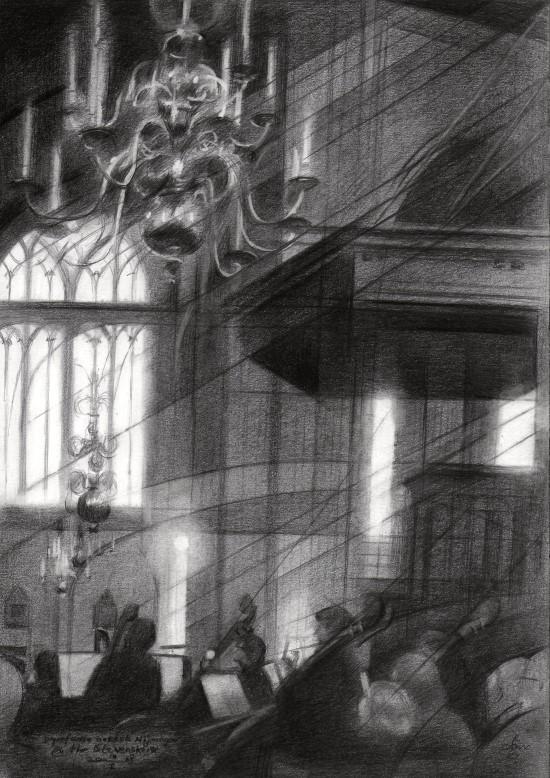 impressionistic church interior graphite pencil drawing