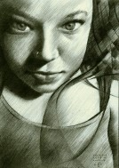 surrealistic portrait graphite pencil drawing thumbnail