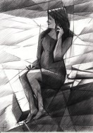 cubistic female graphite pencil drawing thumbnail